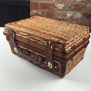 Wicker picnic basket  brass vinyl